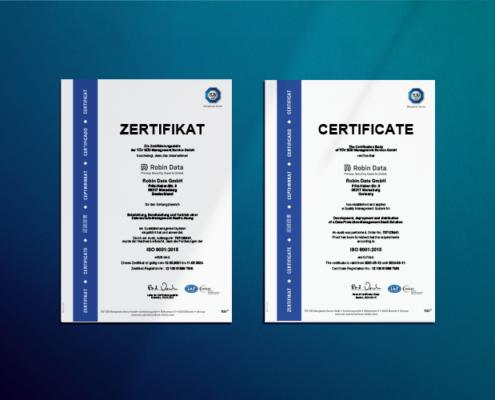 TÜV Zertifikat Qualitätsmanagement ISO 9001 der Robin Data GmbH