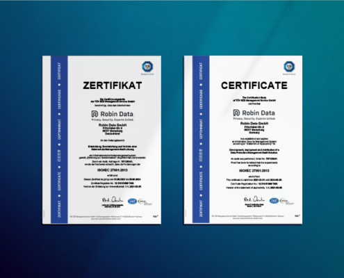 TÜV Certificate Information Security Management System ISO 27001 of Robin Data GmbH